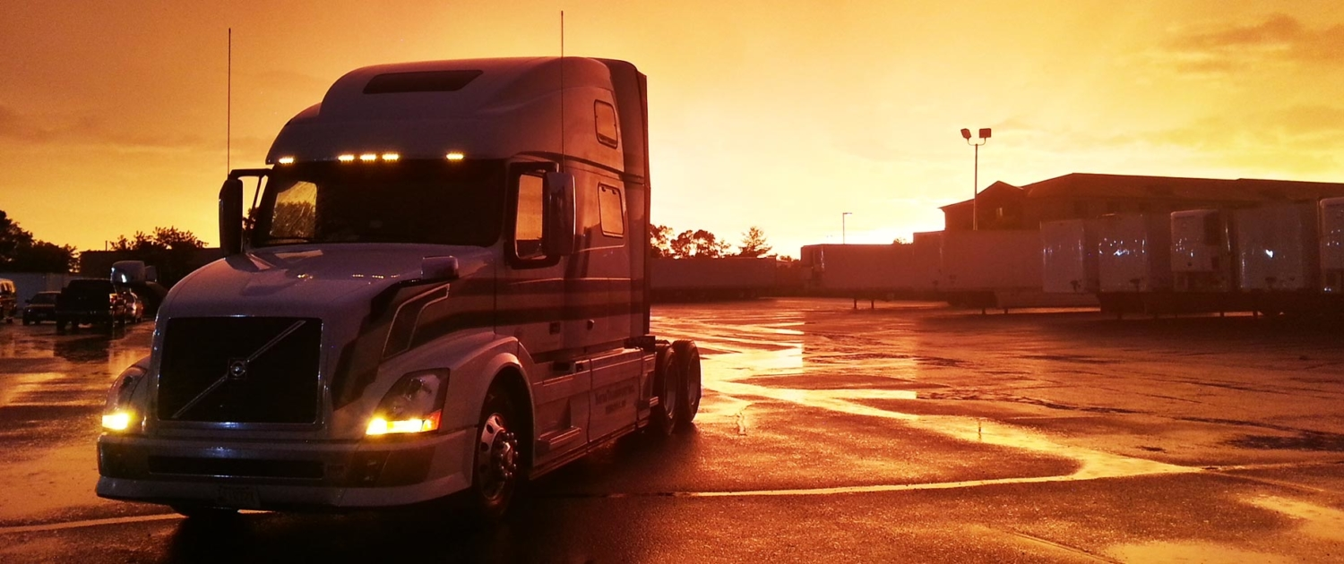 Hayes Transport truck in the sunset